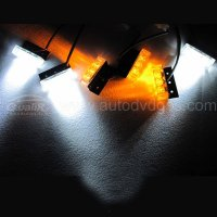 18 LED 2-Color Emergency Vehicle Strobe Lights for Front Grille/Deck, Yellow & White