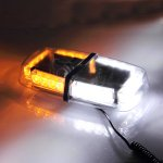 LED Strobe Amber Emergency Warning Mini Strobe Light Bar Magnetic Base, White & Yellow