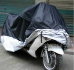 Motorcycle Motorbike Water Resistant Dustproof UV Protective Breathable Cover Outdoor Black/Silver(245x105x125cm)