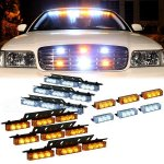 8*9 72 LED Bright LED Emergency Warning Use Flashing Strobe Lights Bar for Windshield Dash Grille-White & Amber
