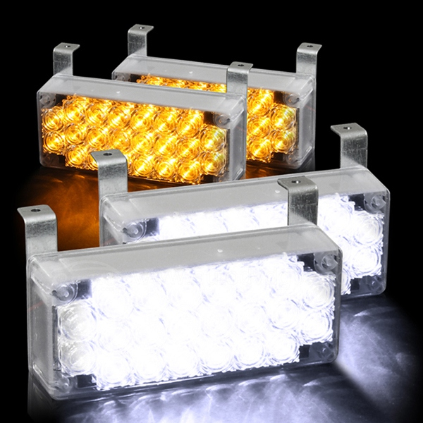 88 LED 2 Amber & 2 white Flashing Emergency Strobe Lights for Front Grille/Deck
