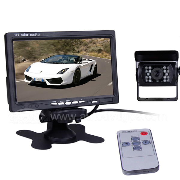 "7"" LCD Monitor Wireless Car Rear View + CCD Reversing Camera Backup System"