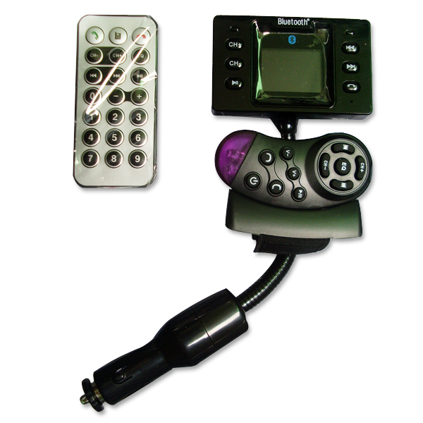 Bluetooth Handsfree Car Kit With MP3 FM Transmitter Support and Steering Wheel Remote Control