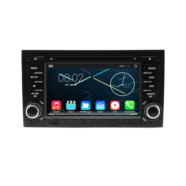 8 Inch Android 4.4.4 Car DVD Player GPS Navigation Stereo for 2005 2006 2007 2008 Audi A4 with 1024*600 HD Capacitive Touchscreen