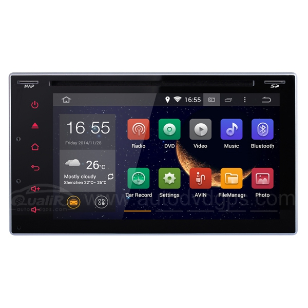 6.2 Inch Universal Android 4.4 2 Din capacitive touch screen DVD GPS Navigation