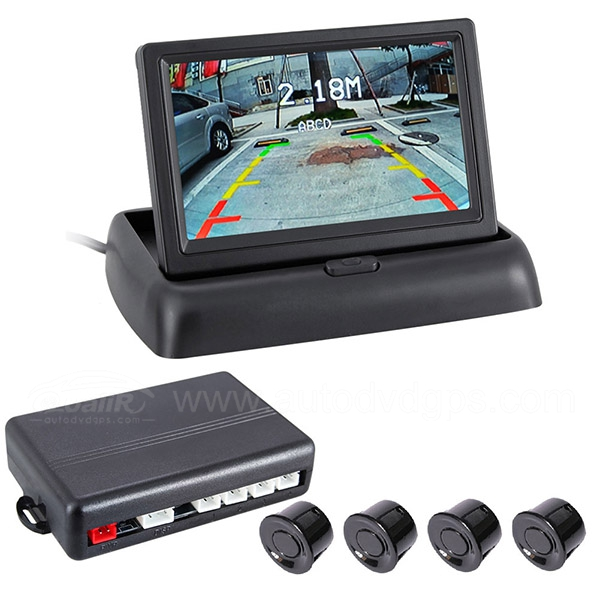 Car Monitor+Reverse Camera+Parking Sensor Auto-Adjust Night Version 4 Sensor Backup Radar Packing Assistance