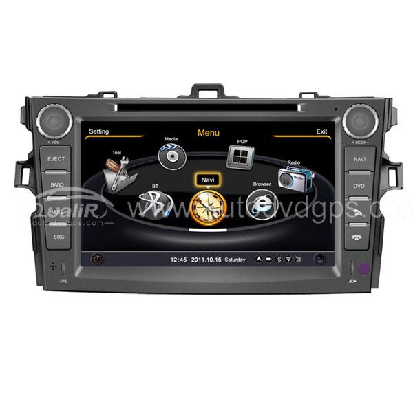 Car DVD GPS Navigation for 2007-2012 Toyota Corolla with Dual-core/3Zone POP 3G/WIFI/20 Disc CDC/ DVD Recording/ Phonebook / Game