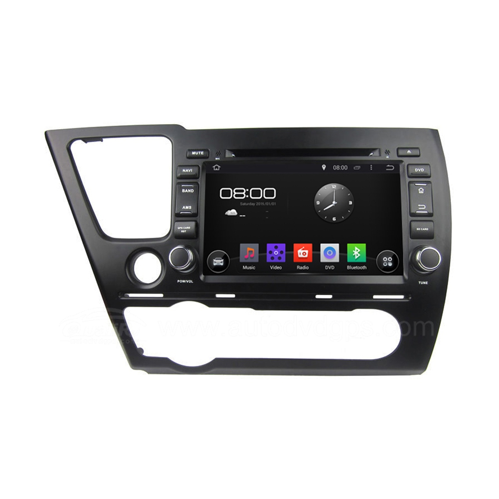 8 Inch Android 4.4 DVD Navigation System for 2014 Honda Civic Saloon with Capacitive Screen