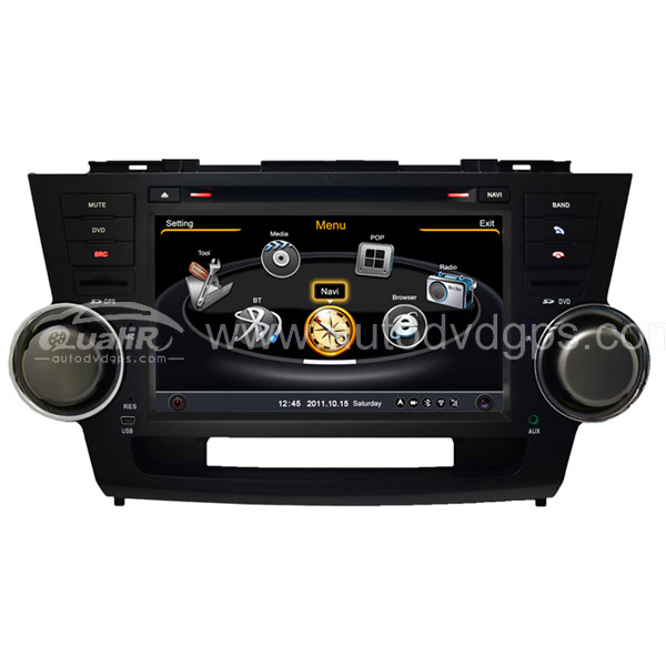 Car DVD GPS Navigation for Toyota Highlander/Kluger with Dual-core/3Zone POP 3G/WIFI/20 Disc CDC/ DVD Recording/ Phonebook / Game