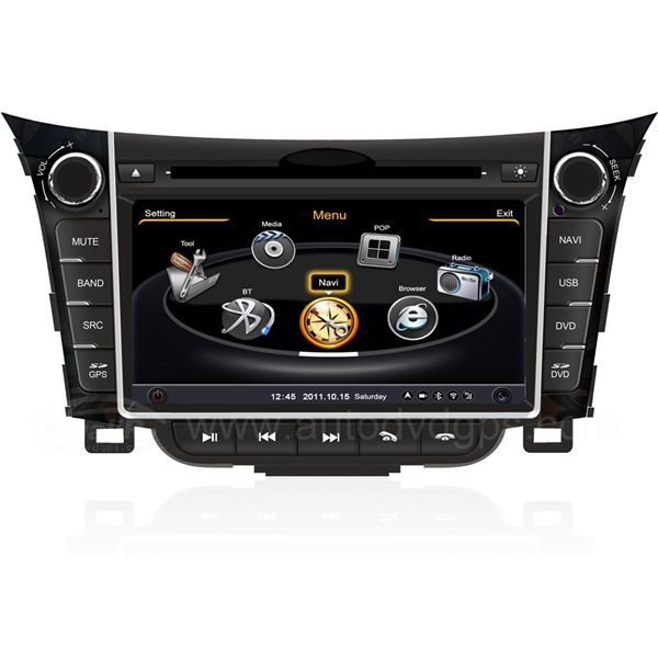 Car DVD GPS Navigation for 2013 2014 Hyundai I30 with Dual-core/3Zone POP 3G/WIFI/20 Disc CDC/ DVD Recording/ Phonebook / Game