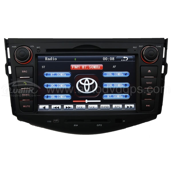 "Car Dvd Sat Navi Gps Radio For Toyota Rav4 + 7"" Digital Touchscreen Monitor And Steering Wheel Control Bluetooth"