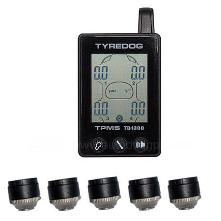 New TYREDOG TPMS Tire Pressure Monitor System with 5 Sensors