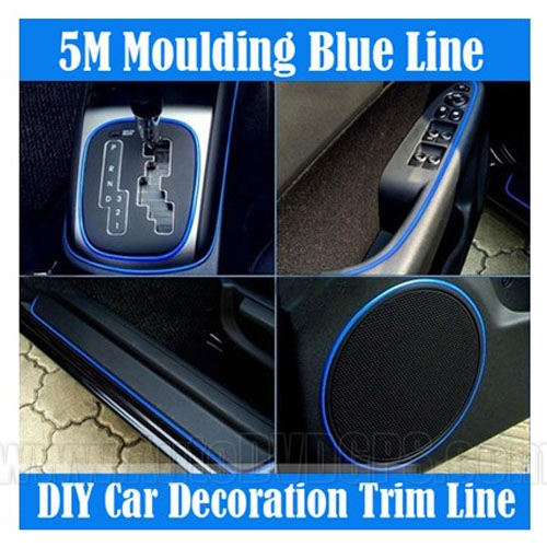 product image of 5m diy car interior decoration moulding trim decorative strip blue line. Black Bedroom Furniture Sets. Home Design Ideas
