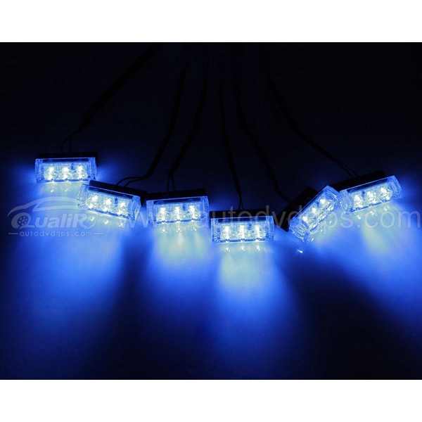 18 LED Emergency Vehicle Strobe Lights for Front Grille/Deck ,Blue