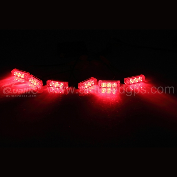18 LED Emergency Vehicle Strobe Lights for Front Grille/Deck ,RED
