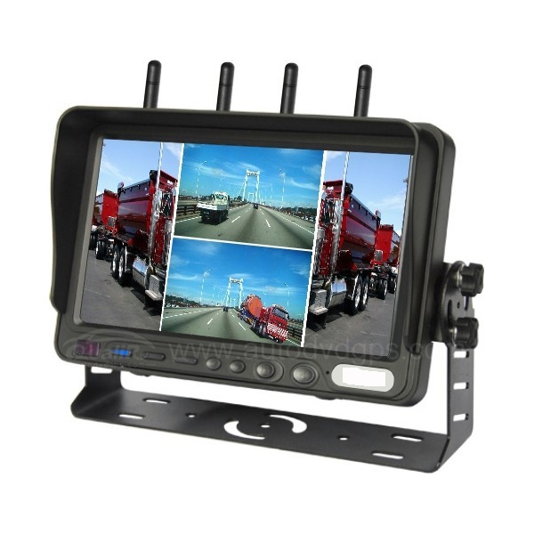 "7""HD QUAD Monitor IR Night Vision Wireless Rear View Back up Camera System for RV Truck Trailer Bus Fifth-Wheel"