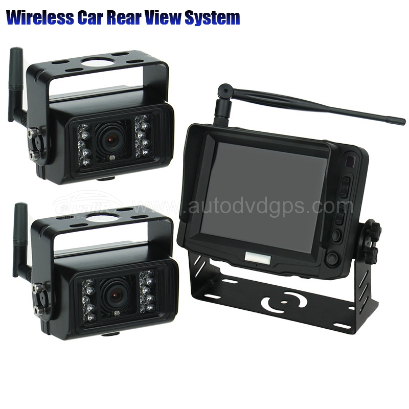5 inch HD Digital Monitor ,WirelessIR Night Vision Rear View Back up Camera System for RV Truck Trailer Bus or Fifth-Wheel