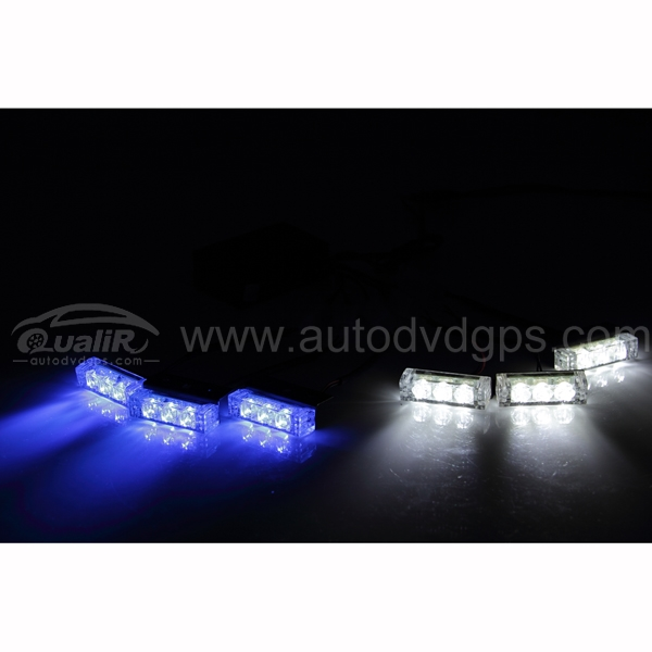 18 LED 2-Color  Emergency Vehicle Strobe Lights for Front Grille/Deck, Blue & White