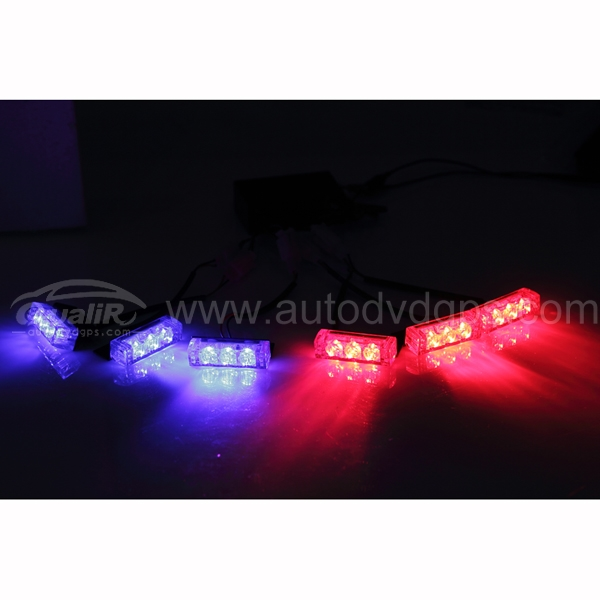 18 LED 2-Color Emergency Vehicle Strobe Lights for Front Grille/Deck, Red & Blue