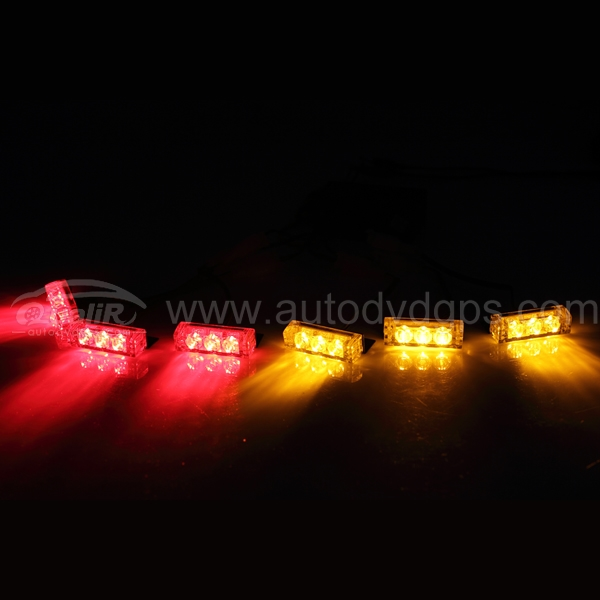 18 LED 2-Color Emergency Vehicle Strobe Lights for Front Grille/Deck, Red and Yellow