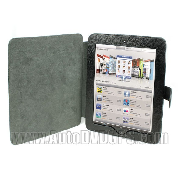 Black Pu leather wrapped design shell cover for iPad