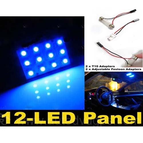 2 x Blue 12-SMD LED Panel Lights For Interior Map/Dome/Door/Trunk Lights