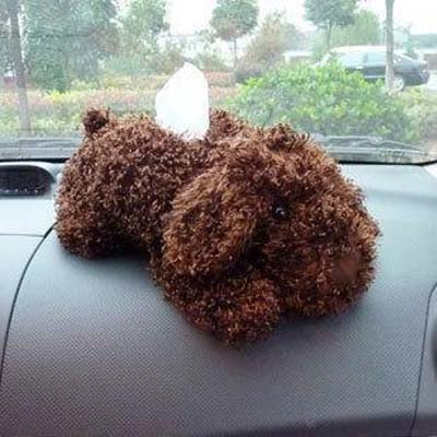 Dog Pattern Velveteen Dock Car Tissue Box